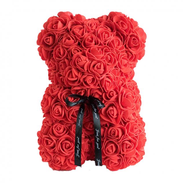 Мишка из роз красный 25см