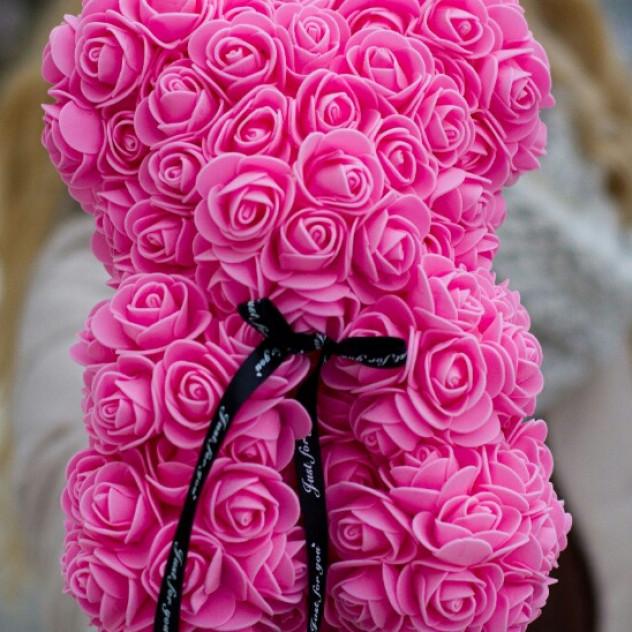 Мишка из роз розовый 25см