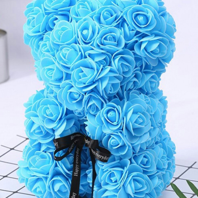 Мишка из роз голубой 25см
